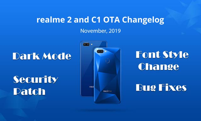 realme 2 & c1 coloros 6 update with dark mode & font style option