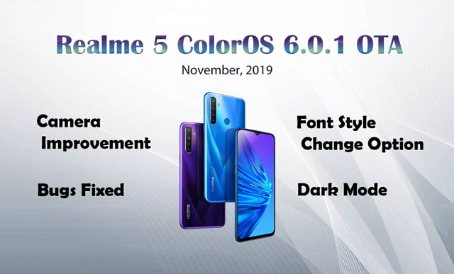 realme 5 coloros update with dark mode and font style option