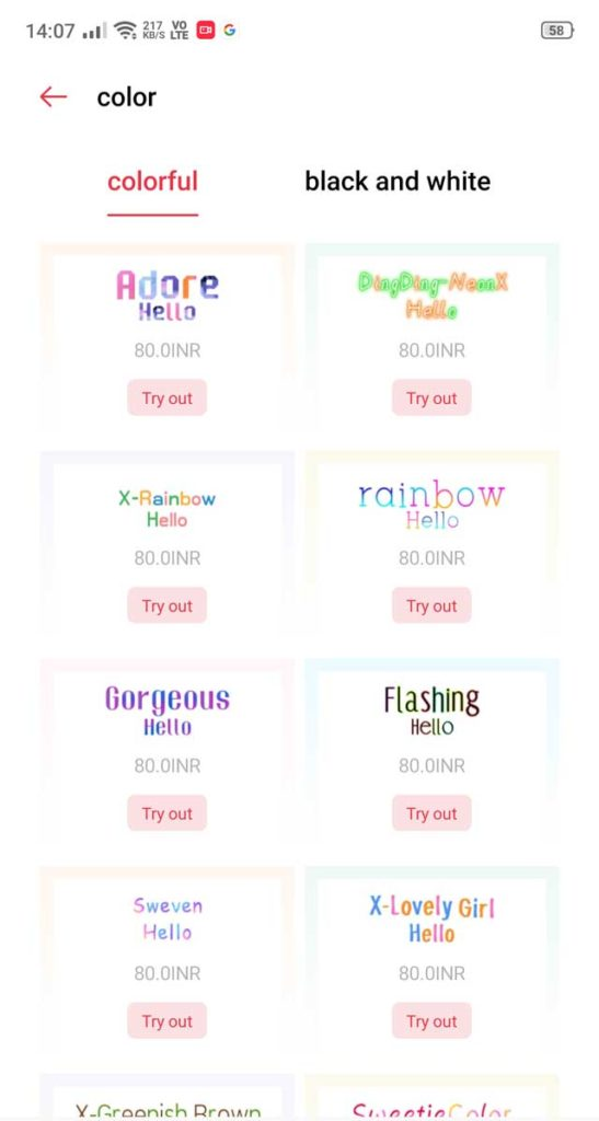 oppo themes store 7 colorful fonts