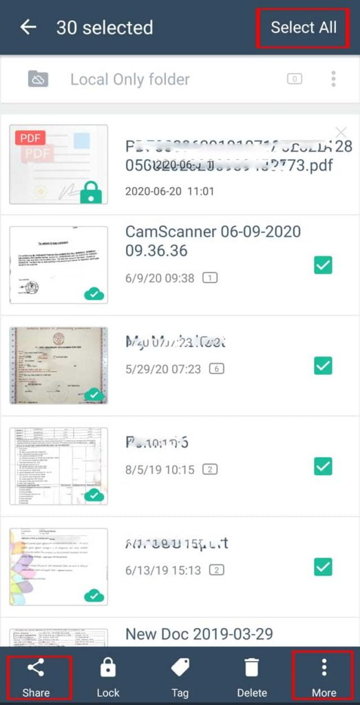 Select all camscanner documents to save in gallery